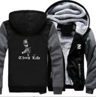 hayat paneli toptan satış-2Pac Thug Hayat Baskılı Tasarımcı Panelli Tişörtü Hip Hop Rahat Hırka Hoodies Erkek Kalın Yüksek Sokak Kazak
