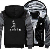 ingrosso felpe con cappuccio-2Pac Thug Life Printed Designer Paneled Felpe Hip Hop Casual Cardigan Felpe con cappuccio Spessa High Street Pullover