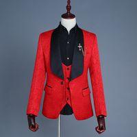Wholesale men wedding vest style new online - New Style Shawl Black Lapel Groomsmen One Button Groom Tuxedos Men Suits Wedding Prom Dinner Best Man Blazer Jacket Pants Tie Vest