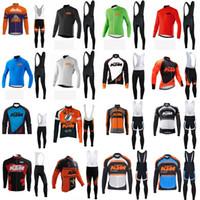 manga longa mtb jersey verão venda por atacado-KTM equipe Ciclismo de manga Comprida jersey bib pants sets 2019 homens roupas de bicicleta de verão mtb desgaste da bicicleta 3d gel pad u41005