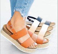 bracelet de pêche achat en gros de-Femmes de grande taille occasionnels sandales été nouvelles femmes d'herbe plat design bouche de poissons de mode sandales de plage