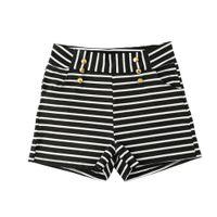 Wholesale ladies net pants resale online - Women Shorts Summer Striped Shorts High Elastic Waist Ladies Casual Pants Black White G2522B XXL