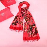 шелковые бархатные шарфы женщины оптовых-Fashion Red Print Flower Cape Spring Women Soft Scarves Handmade  Shawls Islam Hijab Velvet Silk Muffler Scarf Stole Chal