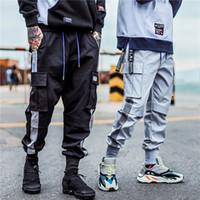 ingrosso tasca pista-Cargo Pocket Track Pants Moda 2019 Harem Joggers Uomo High Fashion Urban Streetwear Pantaloni Hip Hop Slim Fit