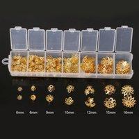 jóias fazendo tampas venda por atacado-Aproximadamente 300 pçs / lote (6 ~ 16mm) Mixed Alloy Beads Caps, tampas, tampas de cabo, borla encantos para jóias fazendo DIY acessórios