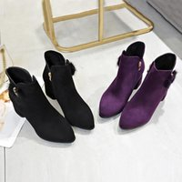 Wholesale thick heel working shoes women resale online - Women Thick Heel Zipper Ankle Boots Square With Single Boots Casual Work Shoes