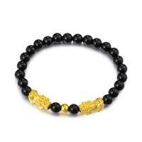 tierperlen für armbänder großhandel-Imitation Gold Feng Shui Pixiu Armband Naturstein Obsidian Perlen Armband Lucky Animal Jewelry
