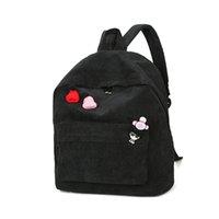 ingrosso zaino universitario blu-College wind windy backpack cute velluto a coste zaino Scuola ragazza Fashion Shoulder Bag Zaino Borse da viaggio nero / blu H30513