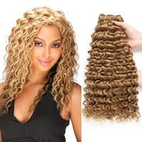 ingrosso pz di capelli vergini ondulati profondi-# 27 Colore Miele Biondo Deep Wave Bundles Raw Virgin Indian Hair 100% Bundles capelli umani 3 pezzi Remy Hair Extension Beyo