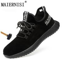 chaussures de sécurité en plein air achat en gros de-Chaussures de sécurité pour hommes, bout en acier léger, anti-écrasement, indestructible, respirant, baskets, chaussures de plein air pour hommes, chaussures de sécurité au travail