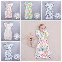 Wholesale baby sleep bag long sleeves resale online - Cotton Swaddle Blanket Wrap Baby Infant Sleeping Bag Sleepsacks Apparel with Detachable long sleeves Romper Floral Apparel CFYZ243