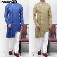 асимметричная мужская одежда оптовых-INCERUN мусульманской одежды мужчины свободного покроя рубашка длинный твердый стенд воротник с длинным рукавом кафтан блузка мужская Хомбре 5XL замыкают