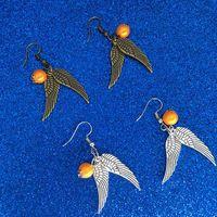 ingrosso le ali antiche-2 colori Orecchini Boccino d'oro Orecchini pendenti Bronzo antico Ali d'argento per gioielli di gioielli di gioielli da donna per i fan