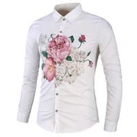 mürekkep bağbozumu toptan satış-Wenyujh yüksek kaliteli erkek gömlek slim fit mürekkep çiçek baskı rahat erkek sosyal gömlek uzun kollu artı boyutu eski gömlek erkekler