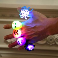 Wholesale rings decoration resale online - Halloween funny little gifts Prom party finger light glowing toys Children creative small gifts Pumpkin Bat Ring