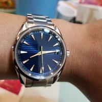 espejo azul blanco al por mayor-42mm Aqua 150m Azul / Blanco / Negro Estuche con dial Automático Azul Acero inoxidable Correa Espejo de zafiro Relojes para hombres