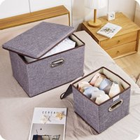 Wholesale cotton office clothes for sale - Group buy Foldable clothing storage boxes cotton linen large Office Sundries toy organizer with cover folding storage bins