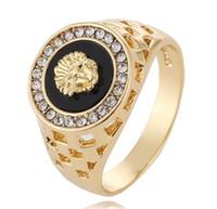 jóia leão mens venda por atacado-Cluster Anéis Novos Designer de Luxo Anéis 24 k Cabeça de Leão de Ouro Mens Anéis Abertura Pode Ajustar Mens Jóias Anel