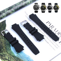 Wholesale automatic dive watches for men resale online - 26 mm Waterproof Diving Silicone Rubber Watchband Strap for IWC Watch Automatic Man Ocean IW354807 IW353804 Black with Tools
