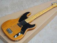 ingrosso corpo alder chitarra-Chitarra basso giallo 4 corde di precisione con corpo in ontano, pickguard nero, offerta personalizzata su richiesta