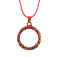 yüzen kalp kolye toptan satış-Kadınlar için zincir Kolye Yaşam Hafıza Güzel Yüzer Charm Cam Yuvarlak / Kalp Madalyon Kolye Kolye Altın Yüzer Locket Kolye