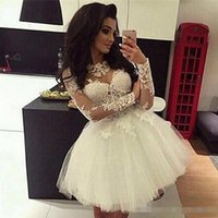 Wholesale deep pink graduation dress for sale - Group buy Lace Ball Gown Prom Evening Dresses Long Sleeves Sheer Neck Sweet Dresses Pageant Custom Homecoming Gown Mini Short Graduation Dress