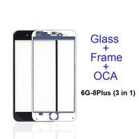 lunette 5s achat en gros de-Écran tactile avant Lentille en verre extérieure + Cadre central à cadre froid pour presse à froid + OCA installé pour 5s 5c 6 6s 7 8 plus