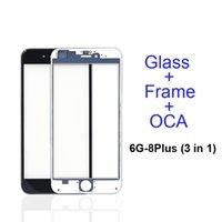 iphone blende rahmen großhandel-Frontglas-Frontscheibe des Front-Touchscreens + Kaltpresse Blende für mittleren Rahmen + OCA für 5s 5c 6 6s 7 8 plus