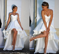 Wholesale plus size elegant beach wedding dresses resale online - 2020 Elegant High Low Satin A Line Short Beach Wedding Dresses Sweetheart Ruched Zipper Back Summer Bridal Gowns for Bride