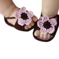 вязание для девочек оптовых-Knitting Lace Crochet Buckle Flower Sandal Baby Girls Summer Shoes Anti-slip Single Sandals 2019 New Children Shoes #YL1