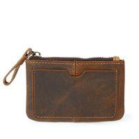 Wholesale brand handmade leather wallet resale online - Fashion Real Cow Genuine Leather Men Women Key Wallet Short Small Coins Purse Brand Zipper Short Bag Handmade Color Black Brown