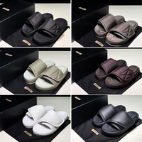 Wholesale straw outdoors for sale - Group buy 2019 Kanye Season Slides Top Quality Summer Men Women Fashion West Season Black Embroidery Waterproof Outdoor Slippers Size US5 US11