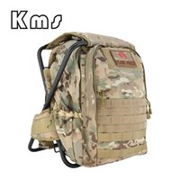 mochilas militares al por mayor-Silla de pesca plegable Mochila táctica Stool Army Molle Back Pack Bolsa para la caza al aire libre Senderismo Equipo de Trekking
