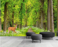 auto papel tapiz baño al por mayor-Deer Green Forest View Wallpaper Arte de la pared Mural Pintura Contacto Papel Rollo 3d Photo Wallpaper Animal ELK Decoración para el hogar de lujo