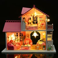 Wholesale miniature wood house kits resale online - Romantic Villa Furniture Dollhouse Miniature DIY House Craft Model Kit With Music And LED Lights Wood Dolls House Christmas Gift