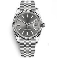 saat izleri toptan satış-Mekanik Deap 3640mm Otomatik kayma pürüzsüz erkek Jübile Izle Sabit Yivli 18kt beyaz altın saatler gümüş tonlu eller Moda Burcu Saat