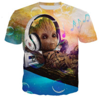 Wholesale plus size galaxy print tops online – oversize 2019 New Arrival Fashion Movie Guardian of The Galaxy D Color Printed T Shirt Men Summer Tops Streetwear Unisex T shirt Casual Shirt N1102