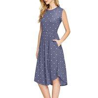 волновое платье оптовых-Летние платья для девочек Wave Point Dress Новая женская одежда плюс размер платья без рукавов 8 цветов Ретро пляжное платье Free Ship AA1906
