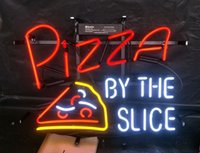 Wholesale pizza lights resale online - PIZZA BY THE SLICE Neon Sign Light Advertising Bar Entertainment Club Decoration Art Display Real Glass Lamp Metal Frame