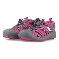 zapatos planos cerrados para mujeres al por mayor-GRITION Sandalias de Mujer Zapatos de Agua Planos Al Aire Libre de Verano Transpirable Toe Cerrado Casual Correas de Playa Damas Moda Deporte Rosa Azul