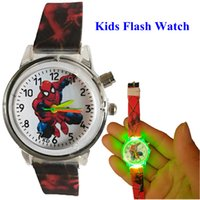 Wholesale kids flashing glasses resale online - Fashion kids children boys spiderman soft rubber flash watch students christmas birthday gift quartz light watches