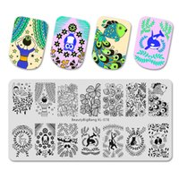 Wholesale xl stamping plates resale online - BeautyBigBang Stamping Plates Nail Art Mold Panda Whale Owl Fish Deer Birds Plants Printing Image Template Stamping Plate XL