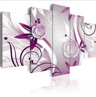 ingrosso immagini delle rose di fiori-(No Frame) 5PCS / Set Modern Purple Roses Flower Art Print Frameless Tela pittura immagine della parete della decorazione della casa