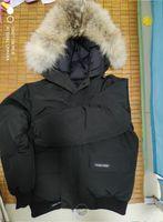 casacos de coleira de pele para homens venda por atacado-Jaqueta de inverno Quente grossa dos homens CAN-Chilliwa-B Para Baixo Parkas Grande real lobo Gola De Pele / Branco ganso Casacos Outerwear COM CAPA DE PELE