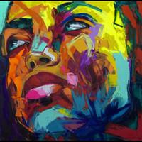 yağlı boya bıçağı toptan satış-Francoise Nielly Palet Bıçağı Gösterim Ev Sanat Eserleri Modern Portre Tuval üzerine El Yapımı Yağlıboya Içbükey ve Dışbükey Doku Face144