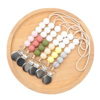 Wholesale trading toys resale online - INS Baby Silicone Bead Pacifier Chain Clips with Cover Foreign Trade Hand Made Natural Infant Baby Gracious Pacifier Holder baby toys A9277