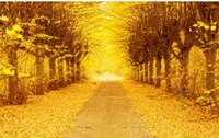 fondo de pantalla de oro al por mayor-Golden Autumn Gold Tree 3D TV Fondo Wall Modern living room wallpapers