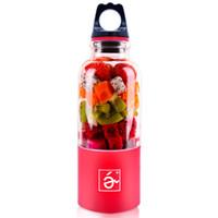 blender şişesi karıştırıcısı toptan satış-500 ml Taşınabilir Blender Sıkacağı Fincan Mini USB Şarj Edilebilir Sıkacağı Blender Maker Shaker Sıkacağı Meyve Portakal Suyu Sıkacağı Mikser Şişe