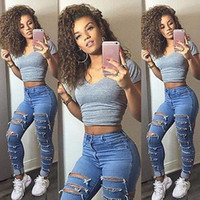 Wholesale slimming stockings resale online - US Stock Women Denim Ripped Pants High Waist Stretch Jeans Slim Pencil Trousers