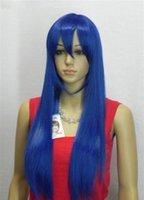 ingrosso lunghi capelli blu-Cosplay lunga piena di marca nuove donne di modo blu scuro parrucca di capelli Parrucche + Cap